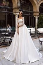 2019 A-line Wedding Dresses Satin with Lace Appliques Bridal Gowns Illusion Three Quarter Sleeve vestido de noiva Custom Made