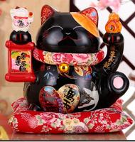 Creative Opening Gift Black Lucky Town House Evil Spirits Large Ceramic Lucky Cat Ornaments Save Piggy