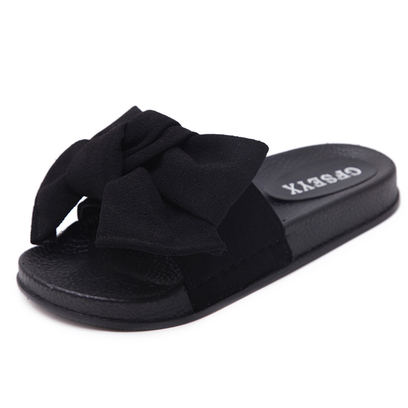 Summer Womens Bow Sliders Sandals Flat Comfy Slides Slippers Comfy Shoes Sizes