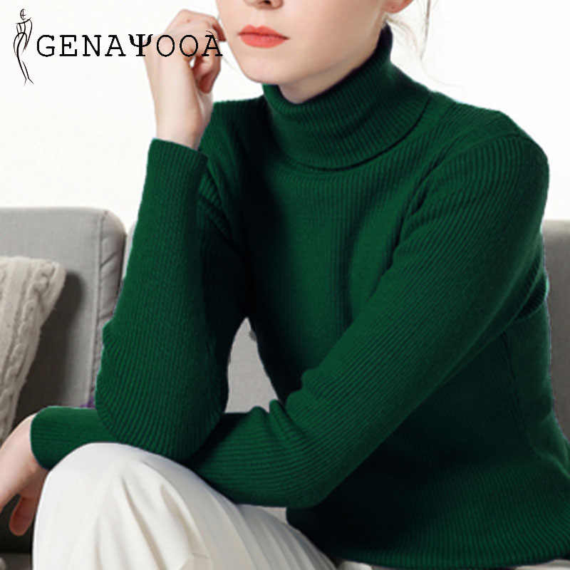 Genayooa Casual Jumper Womens Korean Soft Turtleneck Sweater Women Winter Long Sleeve Pullover Sweater Knitted Sweater Brand