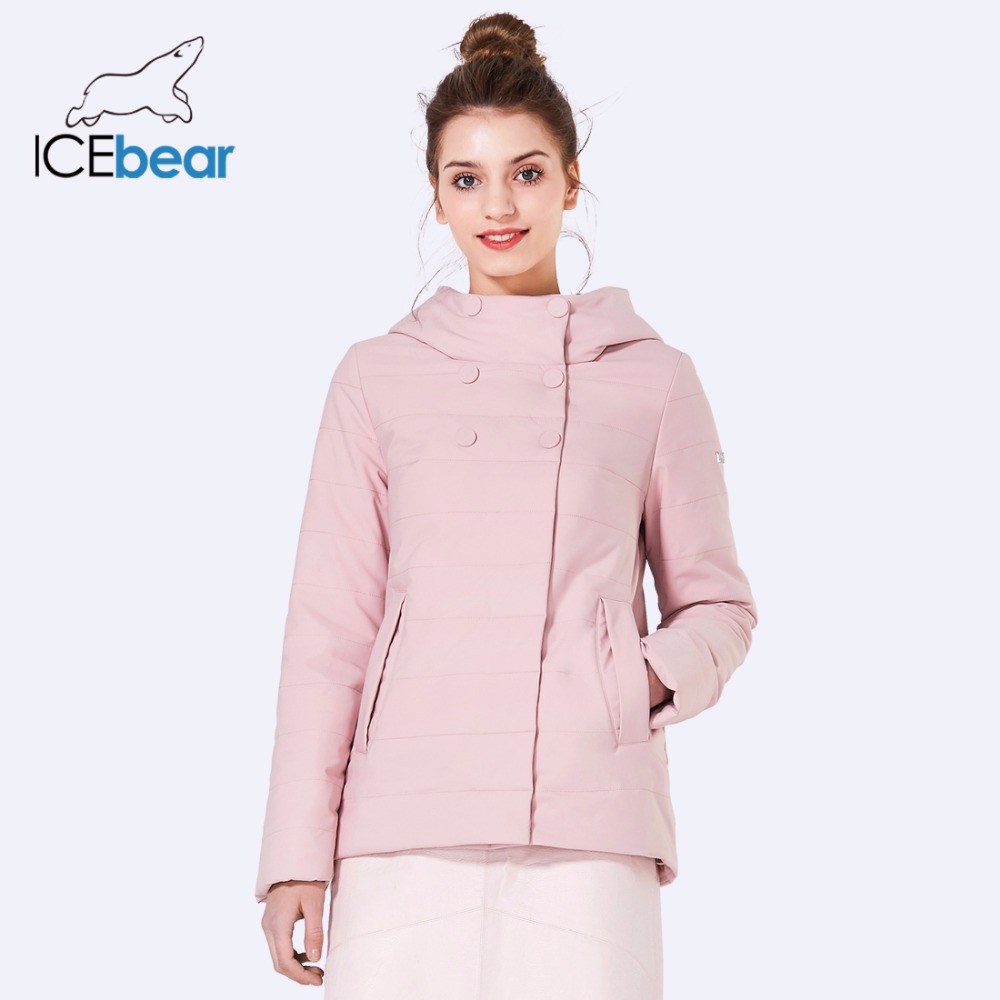 ICEbear 2018 Double Breasted Cotton Padded Fashion Warm Parka Outerwear Autumn Spring Short Womens Coats And Jackets GWC82117D