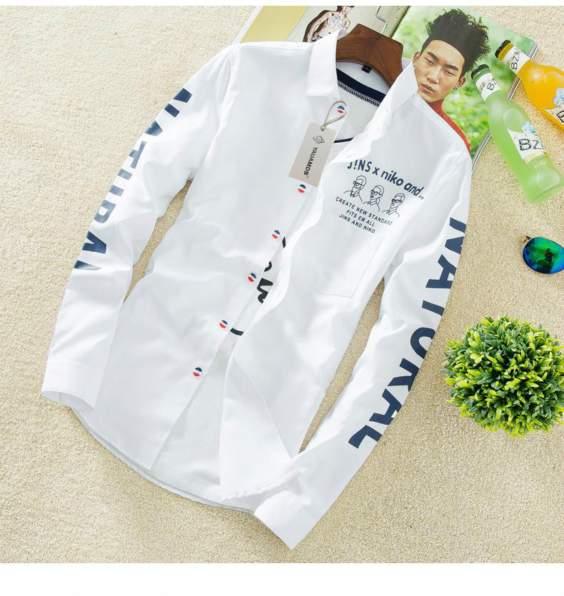 YAUAMDB men shirt 2017 autumn winter size M-4XL cotton male letter long sleeve shirt slim casual turn-down collar clothing y43 11