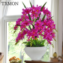 Delicate Phalaenopsis simulation flower set pots landscape ornaments garden home living room table setting interior decoration