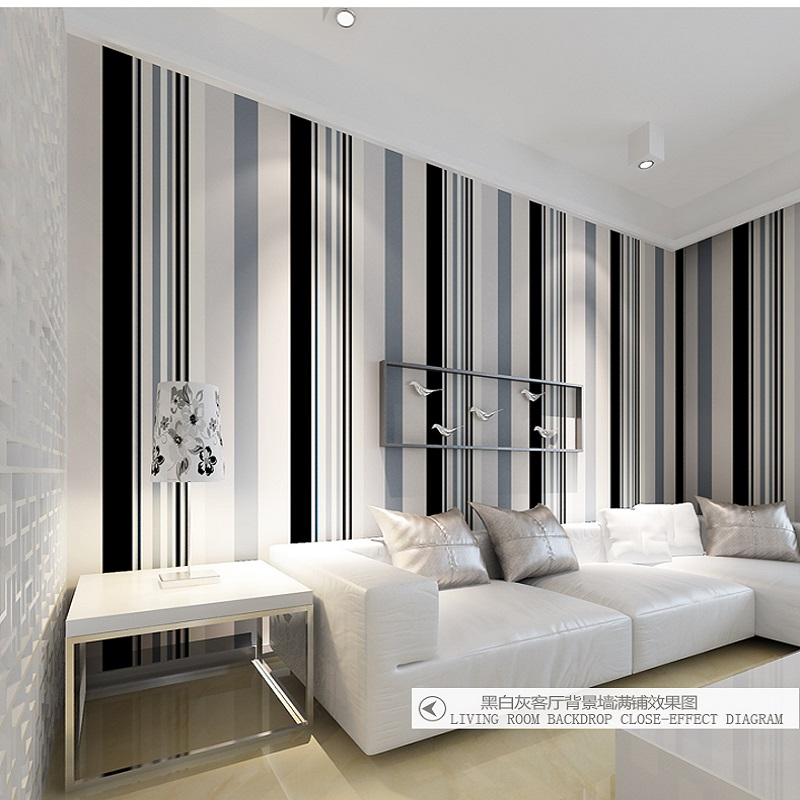 Papier peint Mural 3D en tissu gris & blanc & noir papier peint rayé moderne décoration de la maison papier peint papel de parede tapete 10 mètres
