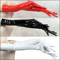 2016 Pair Wholesale Genuine PVC Vinyl Lycra Spandex Zentai Long Black/Red Opera Gloves Unisex Latex Bondage Clubwear PVC Gloves