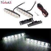 Triclicks Daytime Running Light 2Pcs Set 6 Led 1800lm Universal Car Lights Source Waterproof DC12V DRL