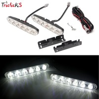 Triclicks Daytime Running Light 2Pcs Set 6 Led 1800lm Universal Car Lights Source Waterproof DC12V DRL