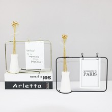 Nordic Modern Small Ceramic Vase Gold Photo Frame Postcard Clip Iron Metal Flower Stand Creative Plant Home Decor Ornaments
