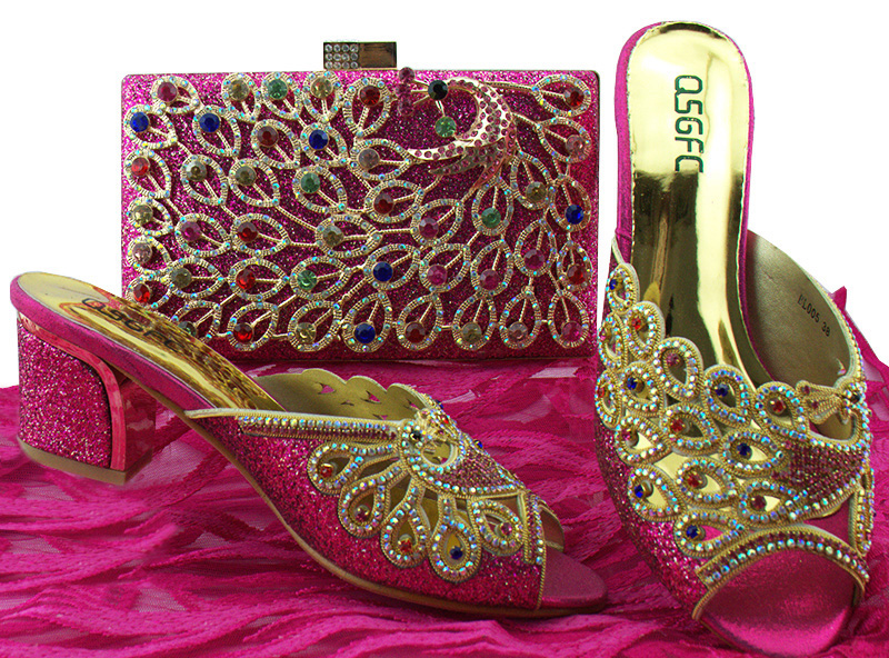 Low heel 2.6 inches size 38-42 african aso ebi shoes and bag fushia hot pink women match set clutches bag and slippers SB8143-6