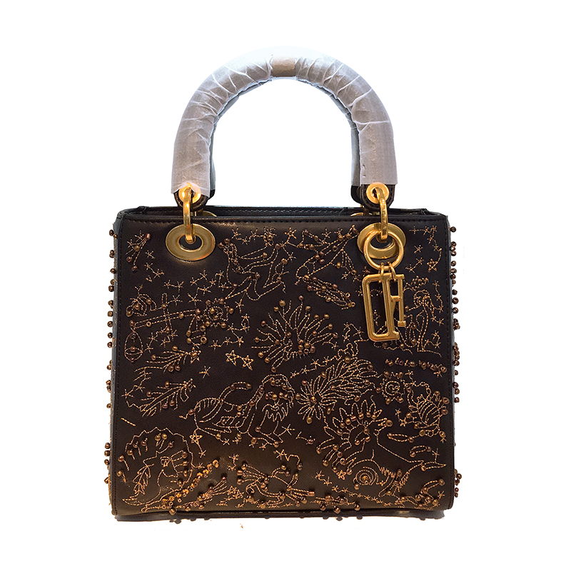 Designer de luxe constellation fourre-tout perlé broderie femmes en cuir véritable sac à main bandoulière épaule Messenger sac pochette