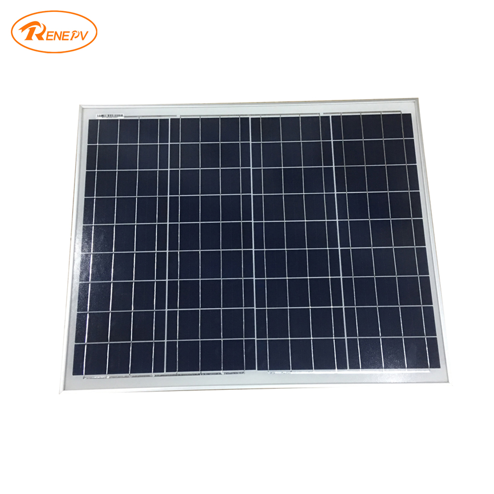 Renepv 50W polycrystalline silicon solar panels 18V solar battery for outdoor use RD50TU-18P renepv 20w polycrystalline solar panels 18v for 12v battery power charging kit