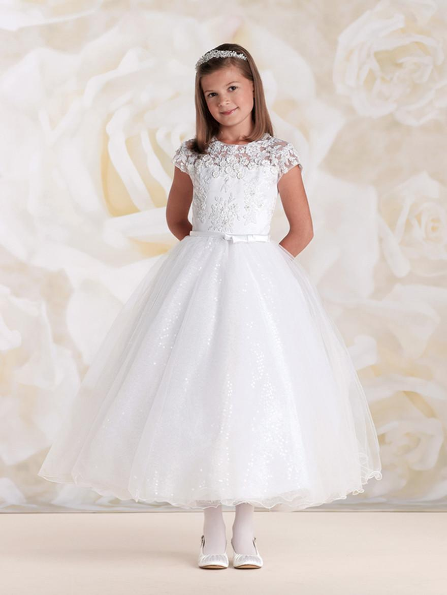 Communion Dresses with Cap Sleeves