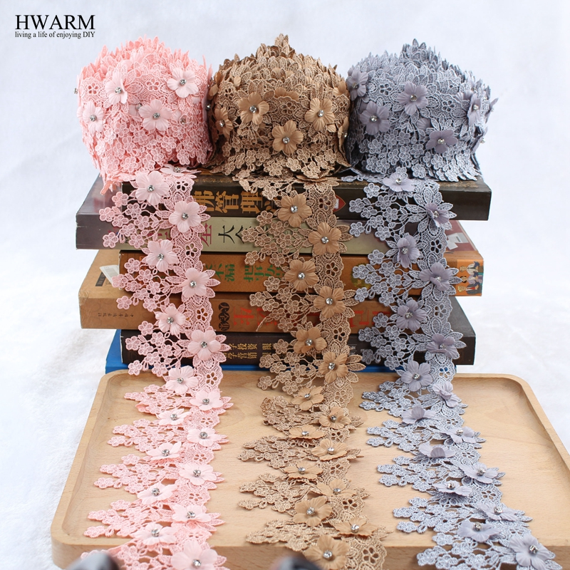 5yard Bored lace fabric wedding decoration embroidery flower curtain skirt decorative polyester filament nail bead code