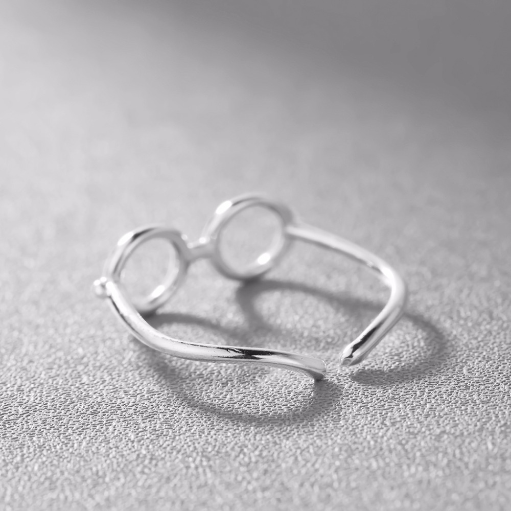 Kinitial New Geometric Cross Glasses Rings for Women Adjustable Size Infinity Ring Simple Finger Silver Color Fashion Jewelry