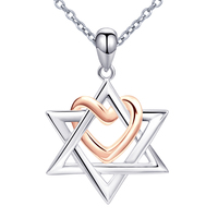 Free Shipping The State of Israel 925 Sterling Silver Chain Love Heart Pendant&Necklaces For Women David Girl Cross Jewelry
