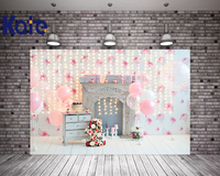 Kate Pink Children Happy Birthday Studio Backgrounds Backdrops Balloon cake Birthday Background Photography Washable Backdrop