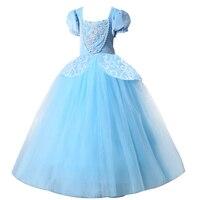 2017 Christmas Princess Cinderella Dress Girls Blue Long Dress Costume Princess Party Dresse Ball Gown Cosplay