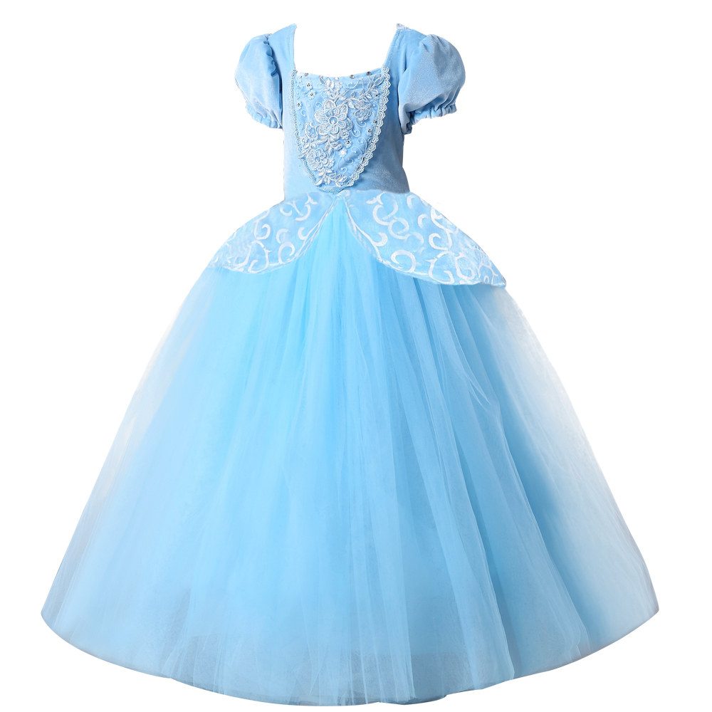 2018 christmas Princess Cinderella dress Girls Blue Long Dress Costume Princess Party Dresse Ball Gown cosplay costume purple bowknot medieval dress renaissance gown sissi princess costume victorian gothic marie antoinette colonial belle ball