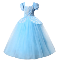2018 Christmas Princess Cinderella Dress Girls Blue Long Dress Costume Princess Party Dresse Ball Gown Cosplay