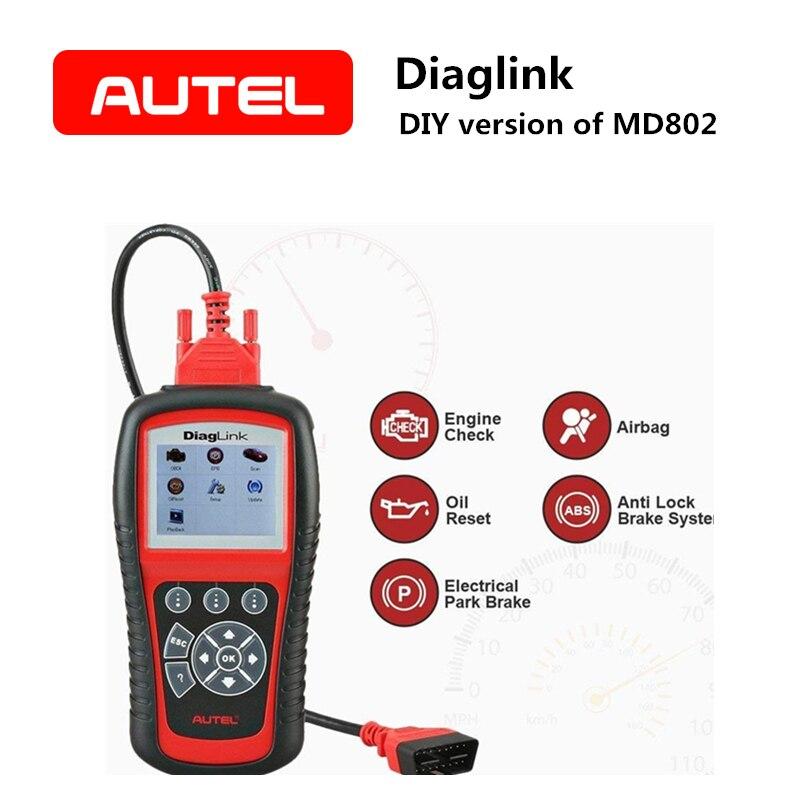AUTEL Diaglink OBDII/EOBD Automative инструмент диагностики МНК/EPB/ABS/масло все Системы сканер Авто Code Reader DIY версия Md802