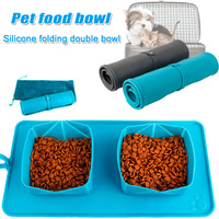 Portable Pet Silicone Bowl Foldable Double Food Feeder Pet Supplies XH8Z FE28