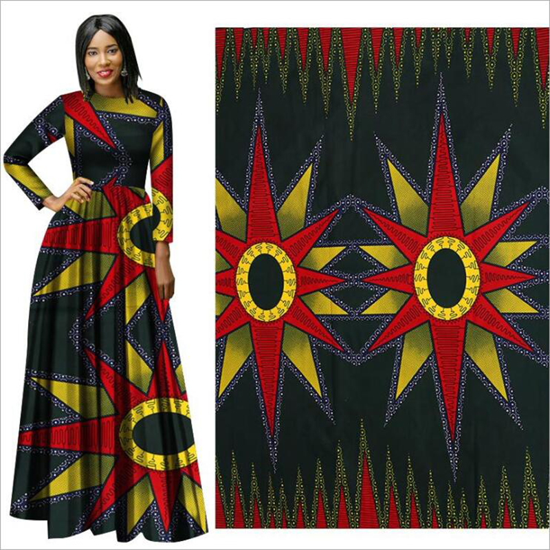 Me-dusa 2019 sun flower African Print Wax Fabric 100% Polyester Hollandais Wax DIY Dress Suit cloth 6yards/lot high quality(China)