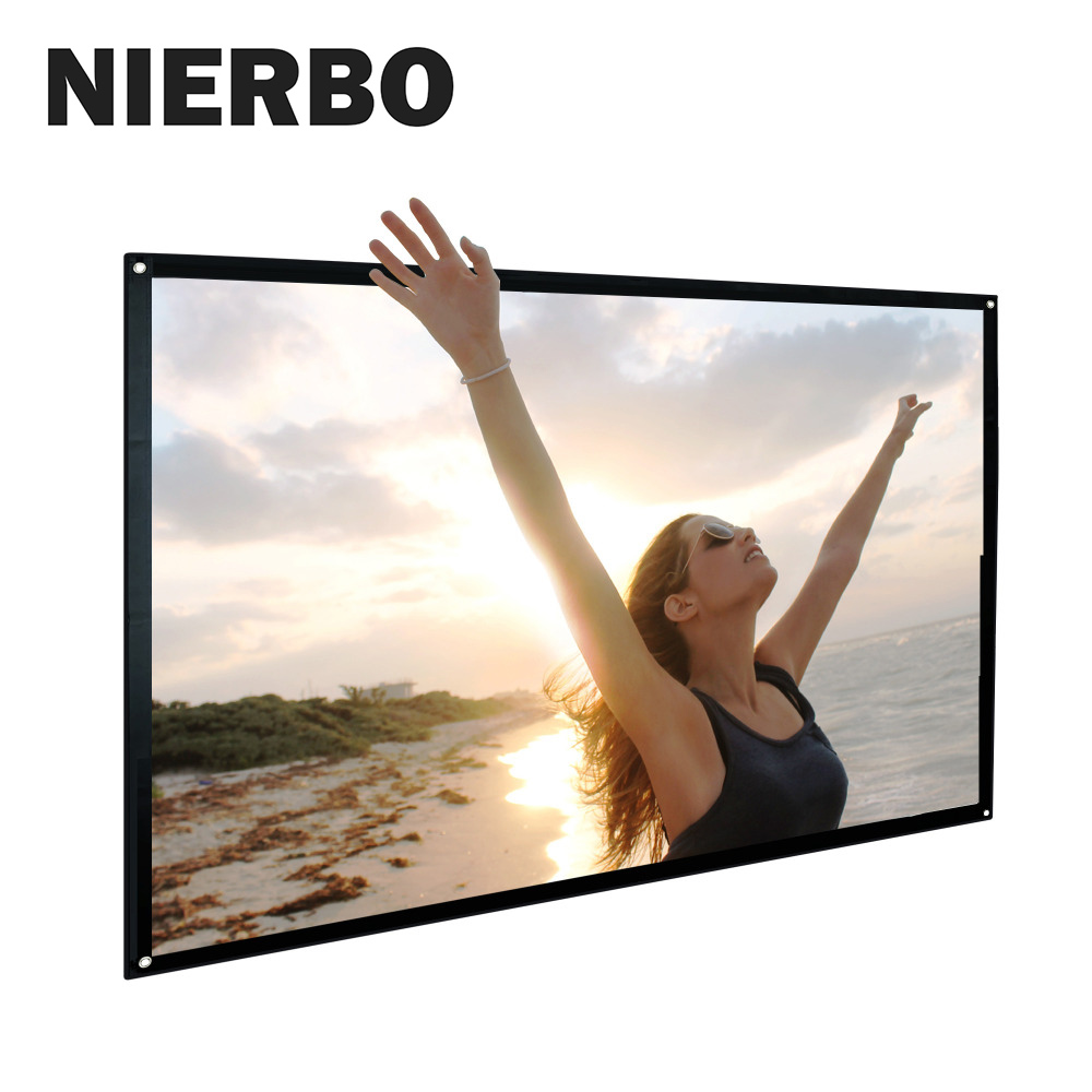 Portable Projector Screen Indoor Outdoor Lightweight Folding Movies Wrinkle Free 100 120 inch HD Simple Screen 3D Rear Front caiwei mini light tabletop screen hd matte white portable projector sccreen for business meeting office outdoor indoor movies
