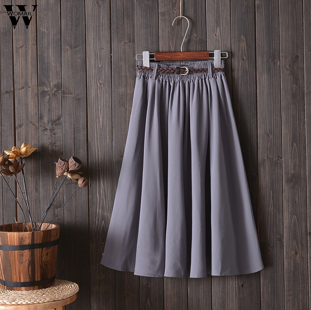Womail  Skirt For Women Sexy Fashion High Waist Skirt With Belt Midi Knee Length  A-line School Skirt Beach New 2019 M523