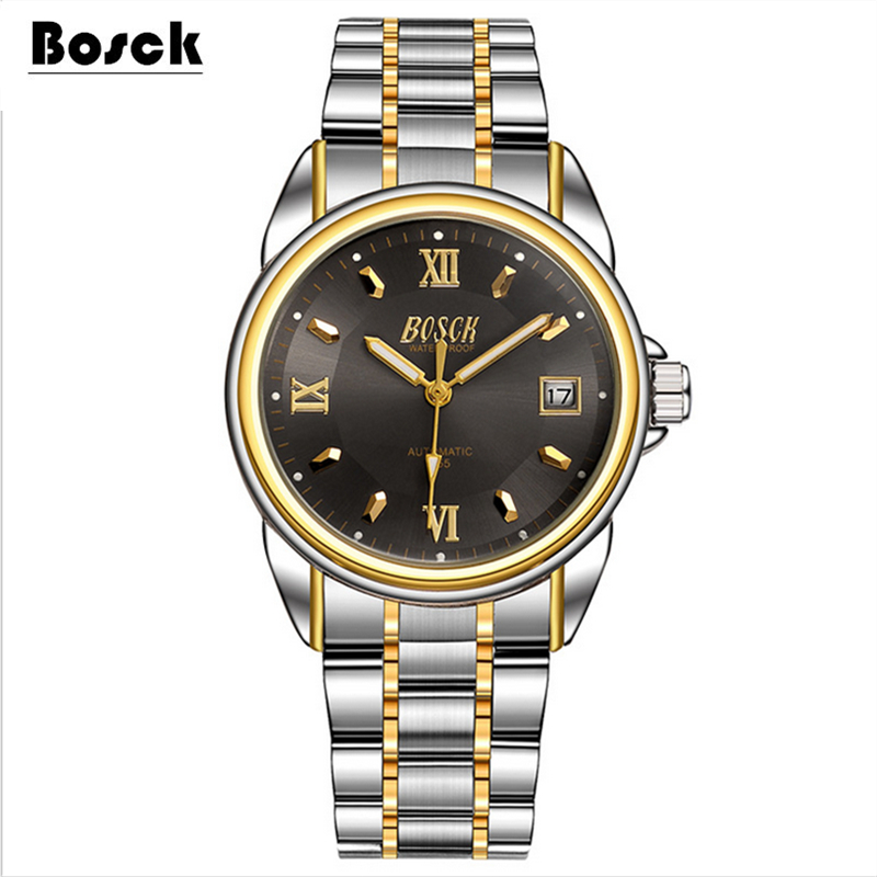 Bosck men s mechanical watches belts business watches luxury fashion watch relogio masculino erkek kol saati