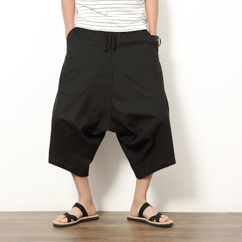 Men's Trousers Mid-Waist Loose Casual Trousers Harem Pants Streetwear 2KX