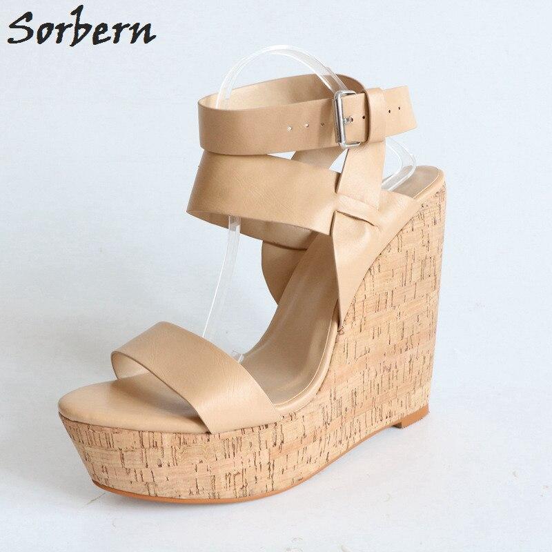 Sorbern Light Brown Women Sandal Wedge Heels Design Shoe For Woman Summer Wedge Shoes Platform Slingbacks