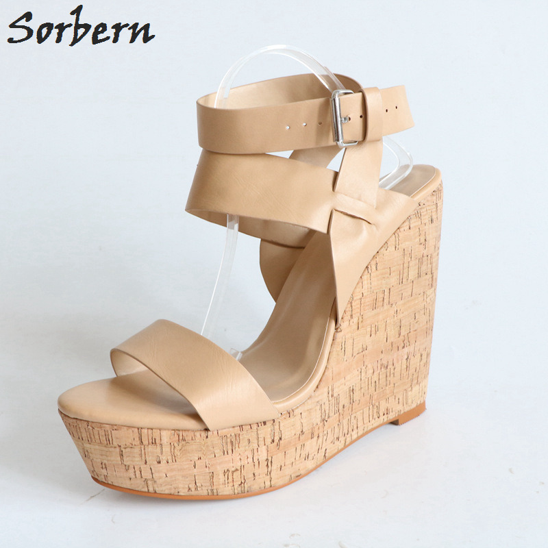 Sorbern Light Brown Women Sandal Wedge Heels Design Shoe For Woman Summer Wedge Shoes Platform Slingbacks Ankle Strap Shoes sweet wedge heel and knot design sandal for women