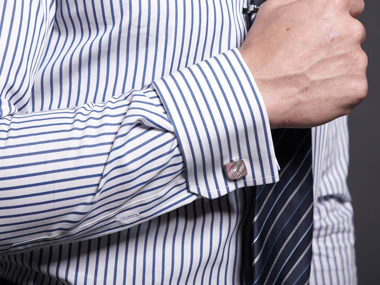 225ba6181af3a3 Rico's shop=slim dress shirt blue stripes in white, french cuff , white  collar