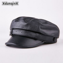 XdanqinX Spring Autumn Womens Leather Hat Cowhide Flat Top Youth Female Fashion Warm Military Hats 2019 New Style Brand Cap