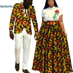 Lover Couples Clothes African Print Tutu faldas para mujeres Bazin Riche chaqueta para hombre Blazer 2 piezas estilo africano ropa WYQ204
