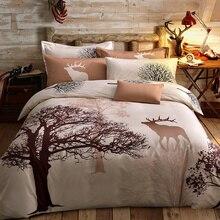 Папа и Мима свежий стиль деревья олень bedlinens высокое качество шлифования хлопчатобумажная ткань Королева/двуспальная кровать пододеяльник набор постельные принадлежности