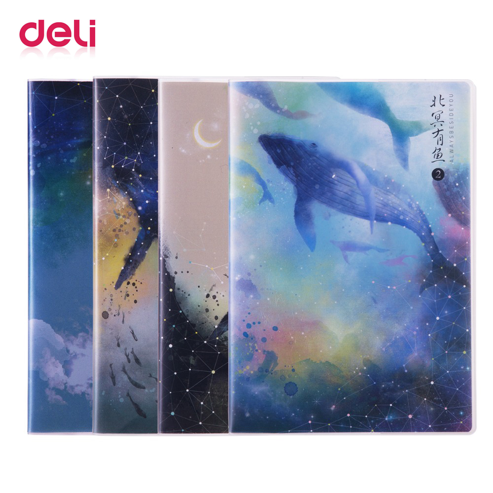 Deli 4 / package 16k 80 pages thick rubber sleeve notebook student soft face notebook starry sky 3d notepad student notebook round neck long sleeve 3d fierce bear starry sky print sweatshirt