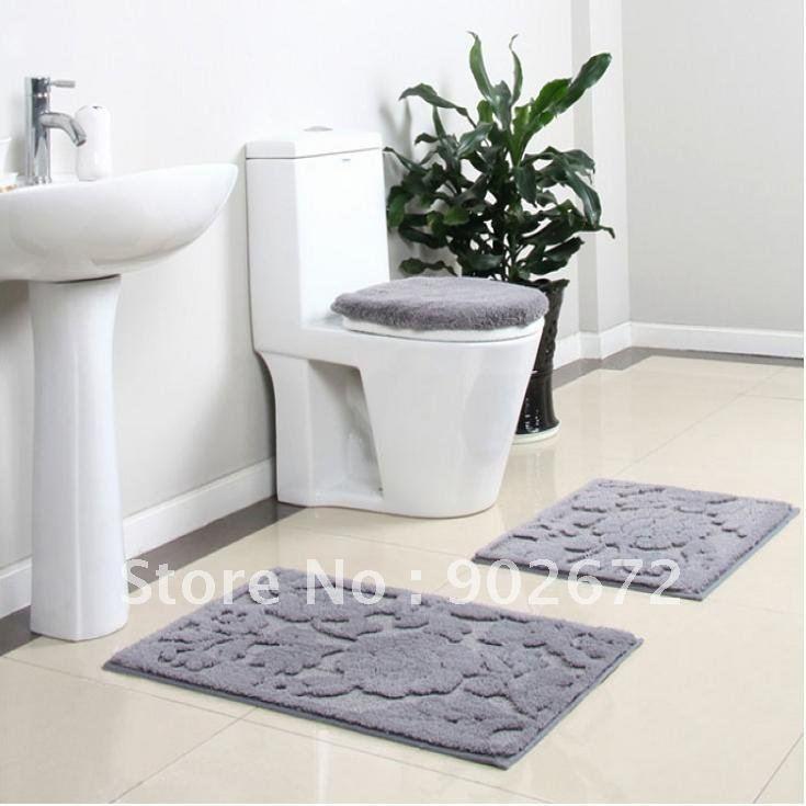 100 acrylic bathroom rug toilet lid set bath mats 4 for Bathroom collection sets
