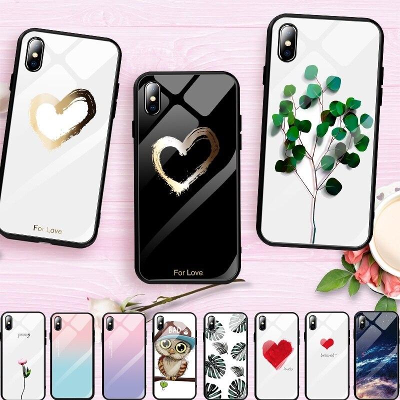 Pattern Витражи закаленное Стекло чехол для iPhone XR XS MAX X 7 8 плюс Симпатичные Сердце Любовь мягкий бампер чехол для iPhone 6 6S Plus Капа