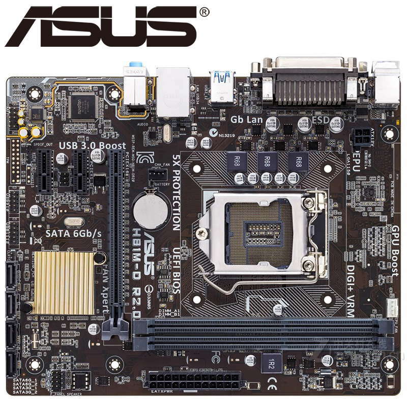 Asus H81M-D R2.0 Desktop Motherboard H81 Socket LGA 1150 i3 i5 i7 DDR3 16G Micro-ATX UEFI BIOS Original Used Mainboard Hot Sale купить