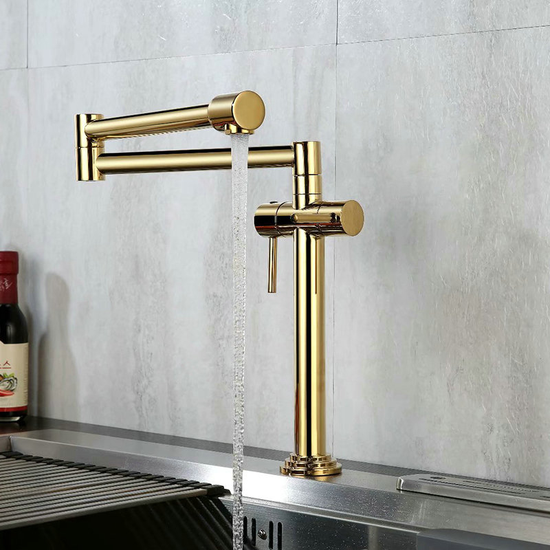 Kitchen Faucet Solid Brass Crane For Kitchen Deck Mounted Sink Mixer Foldable Nickel Brushed/Gold/Chrome/ORB/BlackKitchen Faucet Solid Brass Crane For Kitchen Deck Mounted Sink Mixer Foldable Nickel Brushed/Gold/Chrome/ORB/Black
