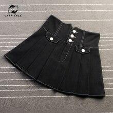 CARP TALE Denim women mini skirt summer vintage high waist Korean single button pockets blue jeans A-line ladies  femme