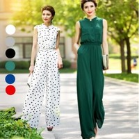 2017 Sexy Summer Jumpsuit Party Overalls Rompers Chiffon Elegant Green Full Length Bodysuit Plus Size S