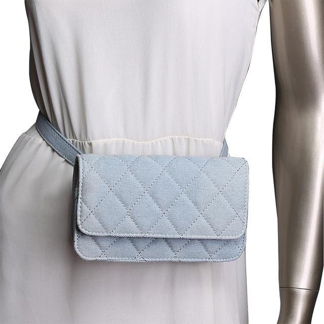 Waist Bag Women Solid Belt Bags Ladies Denim Fanny Pack Luxury Quality Brand Large Wallet Lozenge 5.5 inch phone bags Female