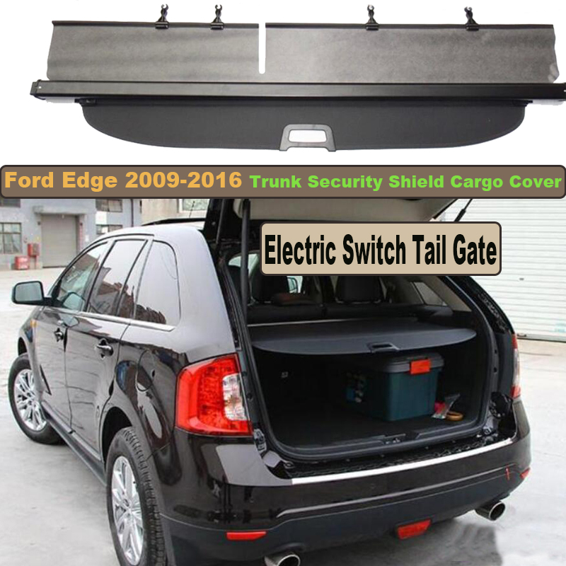 Car Rear Trunk Security Shield Cargo Cover For Ford Edge 2009-2016 Electric Switch Tail Gate SHELF SHADE TRUNK RETRACTABLE car rear trunk security shield cargo cover for volkswagen vw tiguan 2016 2017 2018 high qualit black beige auto accessories