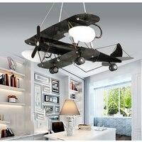 Современная Личность самолет педант Креативный светодиодный lron подвесной светильник для детской комнаты мальчик лампа для детской спальн
