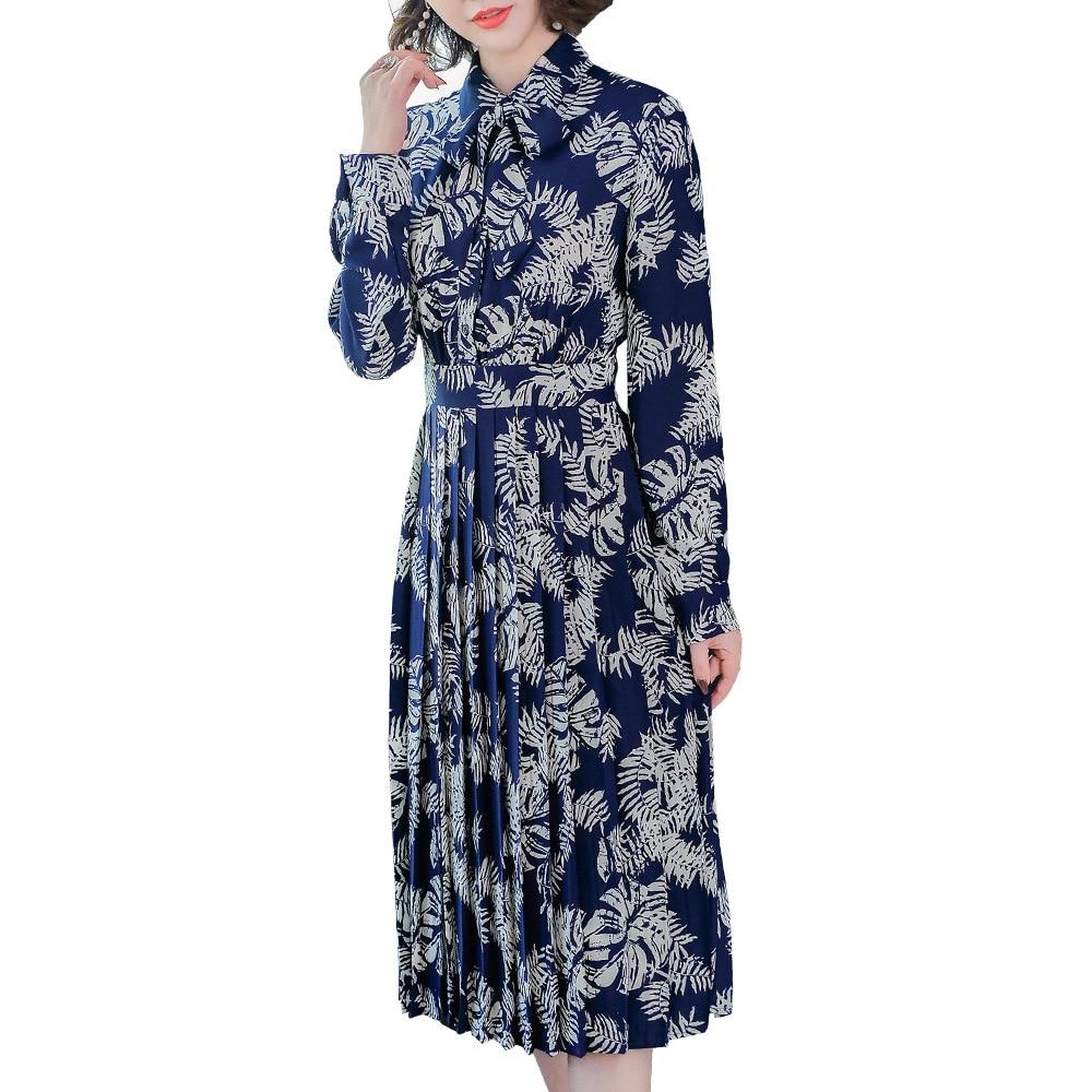Longue Mode Vintage Chemise Européenne Haute Femmes down 2018 Col Manches Qualité Turn Longues Plissée Printemps Automne Imprimer Robe qEnT7t