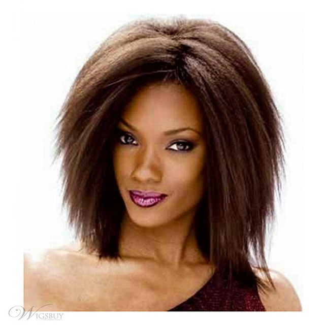 Medium long Auburn wigs ombre brown hair for Women Synthetic yaki Straight wigs Perruque Drag Queen hair wig that look real