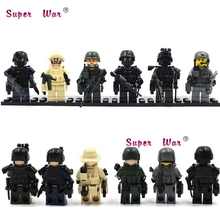 6PCS Military Series team Police guns awp Weapons Pack Army Arms building blocks action model bricks