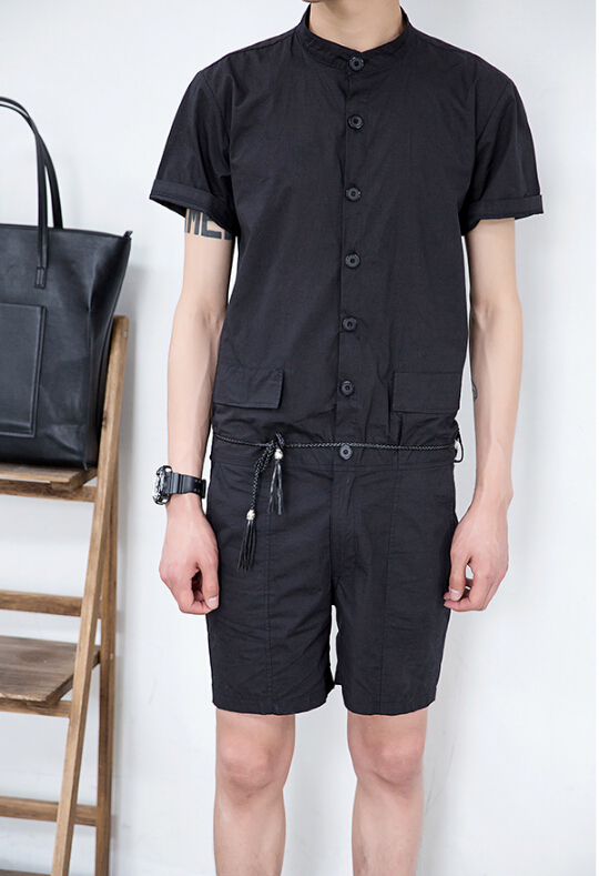 New 2016 Pure Color Man Jumpsuits Summer Wear Overalls Tide Male Korean Style Casual Long Pants Trousers ! M-2XL free shipping